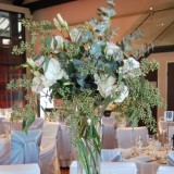 reception-flowers - RG130 Tall flute vase of white lisianthus and foliages